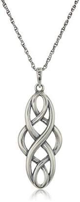 Celtic Oxidized Sterling Silver Knot Pendant Necklace