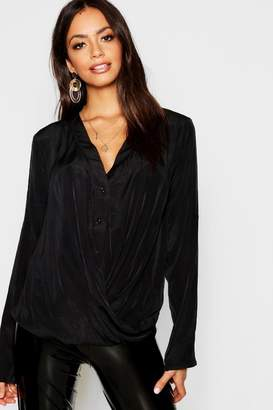 boohoo Button Front Twist Blouse