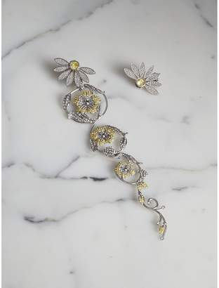 Burberry Long Crystal Half-daisy Drop Earring and Stud Set