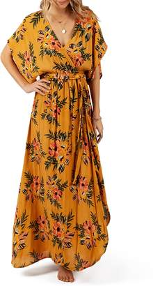 Rip Curl Sunchasers Floral Print Faux Wrap Maxi Dress