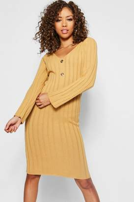 boohoo Long Sleeve Knitted Midi Gold Button Dress
