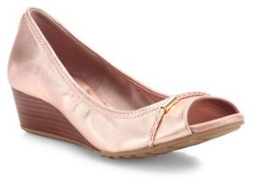 Cole Haan Tali Grand Metallic Leather Peep-Toe Wedge Pumps $170 thestylecure.com