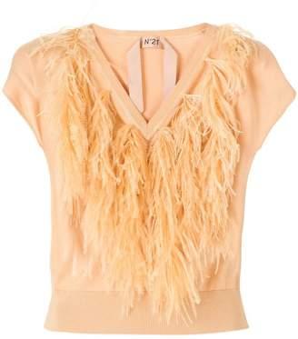 No.21 feather V-neck jumper