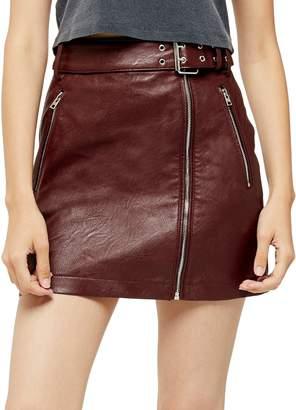 Topshop Hardware Detail Leather-Look Mini Skirt