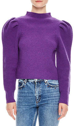 Sandro British Mashup Hibou Wool Puff Sleeve Sweater