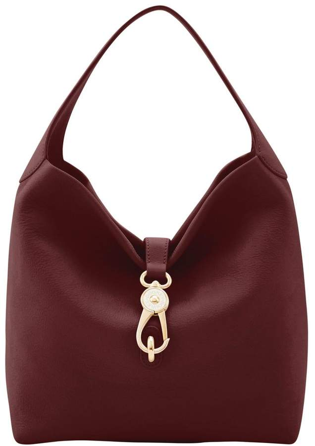 Dooney & Bourke Belvedere Logo Lock Shoulder Bag - BURGUNDY - STYLE
