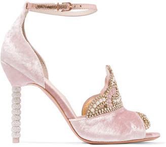 Royalty Embellished Velvet And Metallic Leather Sandals - Pink
