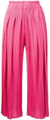 Pleats Please Issey Miyake micro pleated cropped trousers