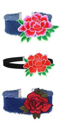 MingJun 3 Pieces Blue Denim Style Velvet Embroidered Rose Choker Vintage Handmade Adjustable Necklace Set for Women Girls (4 Pieces)