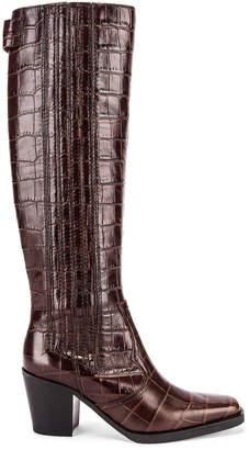 Ganni Western Knee High Boots in Chicory Coffee | FWRD
