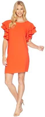 London Times 30s Crepe Ruffle Sleeve Shift Dress Women's Dress