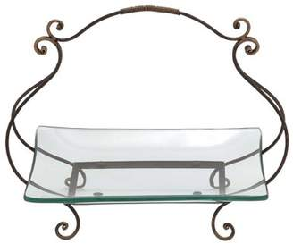 Woodland Imports 68543 Glass Plate with Bbasket Style Swivel Handle
