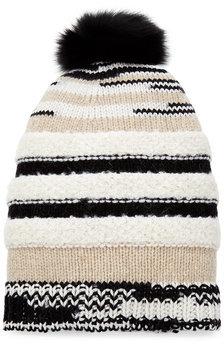 MissoniMissoni Wool Hat with Fox Fur Pom Pom