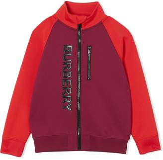Burberry Logo Print Two-tone Stretch Jersey Track Top