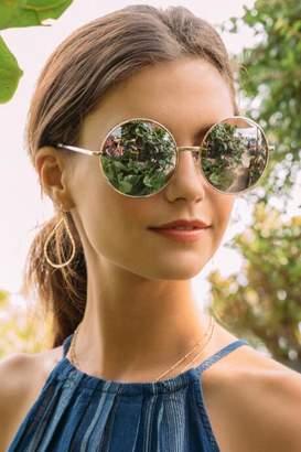 francesca's Marama Oversized Round Sunglasses - Pink