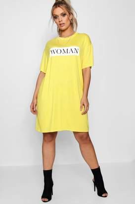boohoo Plus Chelsey Woman Oversized T Shirt Dress