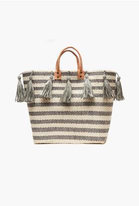 Mar y Sol Dove Sahara Striped Basket Tassel Tote $139 thestylecure.com