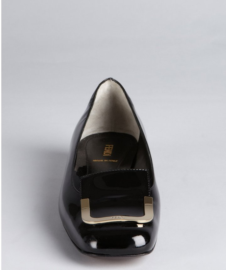 Fendi Black Patent Leather Gold Buckle Tipped Low Heel Pumps