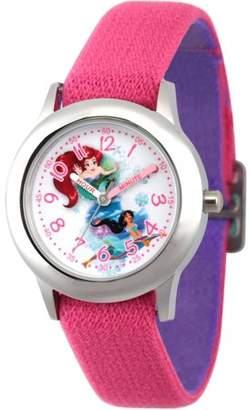 Disney Princess Ariel and Jasmine Girls' Stainless Steel Time Teacher Watch, Reversible Pink and Purple Nylon Strap