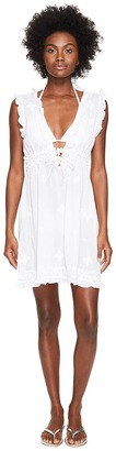Letarte - Short Sleeve Embroidered Voile Cover-Up Women's Swimwear $198 thestylecure.com