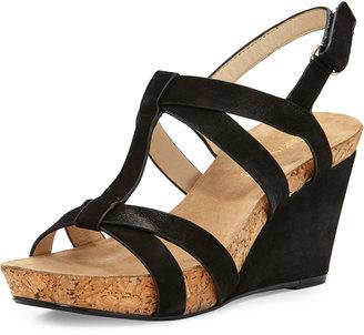 Taryn Rose Trini Nubuck Wedge Sandal, Black $189 thestylecure.com