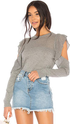 BCBGeneration Pointelle Ruffle Pullover Sweater