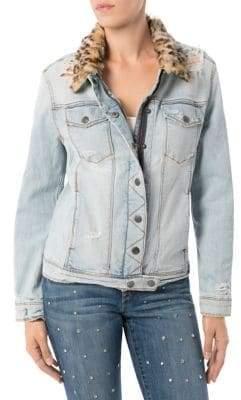 Sam Edelman Faux Fur-Trimmed Distressed Denim Jacket