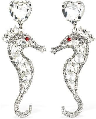 Alessandra Rich Seahorse Crystal Clip-On Earrings
