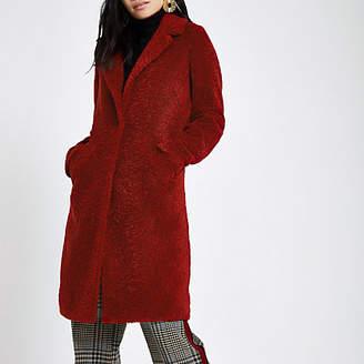 River Island Womens Dark red borg coat