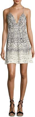 Haute Hippie Snakeskin-Print Slip Dress, Natural/Gray