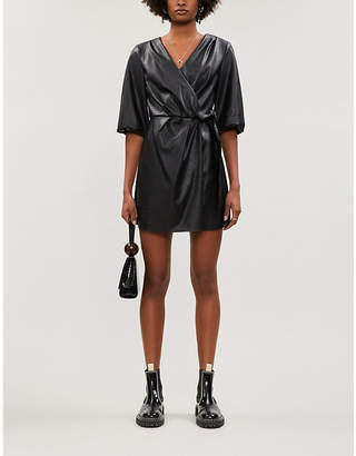 Designers Remix Tara wrap-over balloon-sleeve faux-leather dress