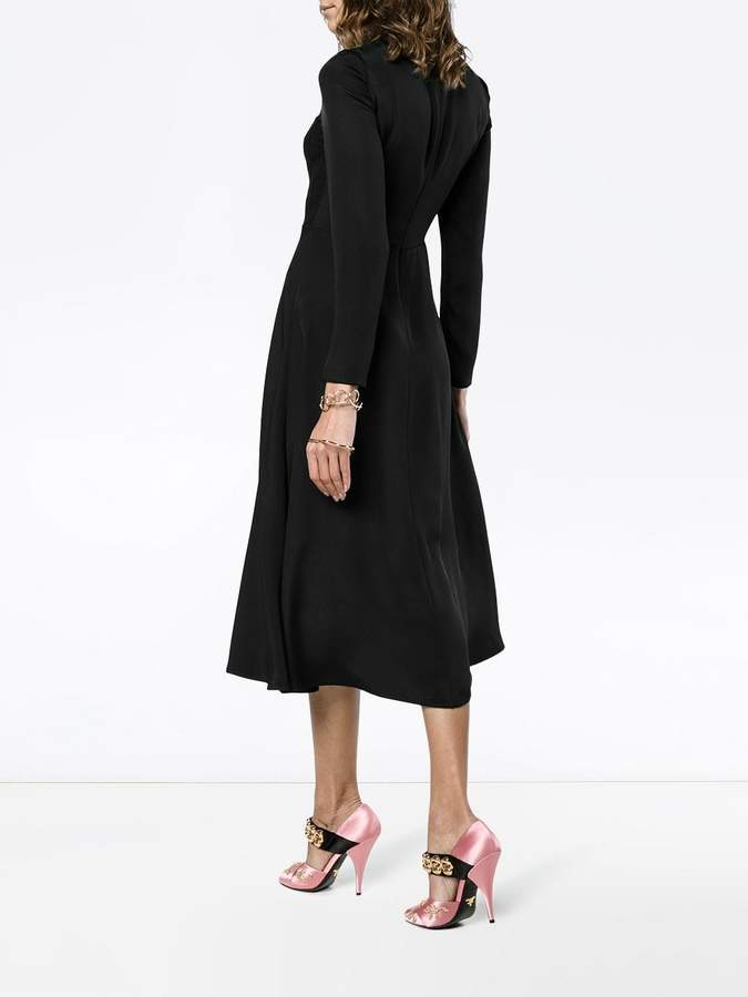Valentino lace panel long sleeve dress