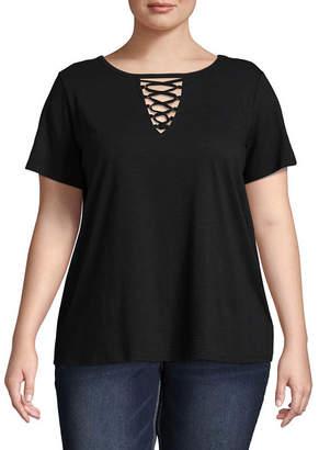 Boutique + + Short Sleeve Lace-Up T-Shirt - Plus