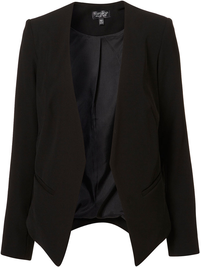 Crop Back Collarless Blazer