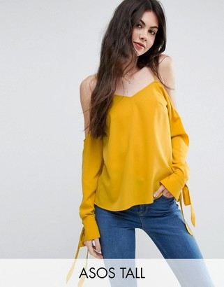 ASOS Tall ASOS TALL Cold Shoulder Top With Cuff And Tie $46 thestylecure.com