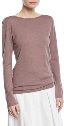 Brunello Cucinelli Cashmere-Blend Metallic Long-Sleeve Sweater