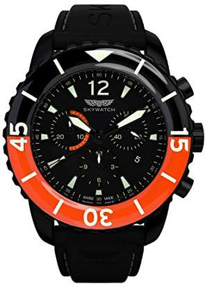 Skywatch '44mm Chronograph' Swiss Quartz Stainless Steel and Silicone Casual Watch