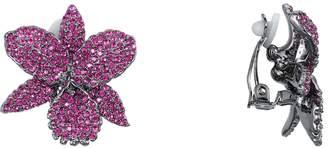 Nina Pave Swarovski Crystal Orchid Clip Earrings