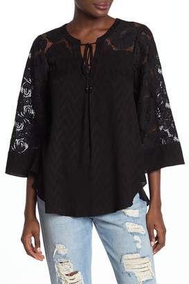 Hale Bob Floral Lace Bell Sleeve Top