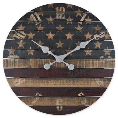 FirsTime® Old Glory 18-Inch Round Wall Clock in Red/White/Blue