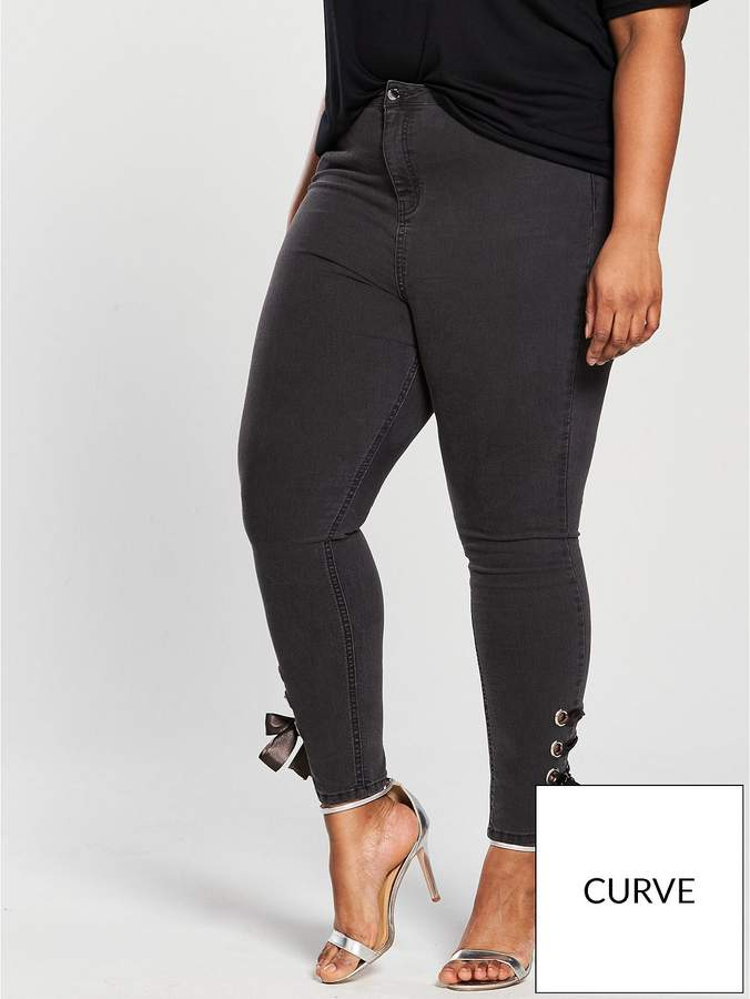 V By Very Curve Eyelet Tie Side Jean - Charcoal