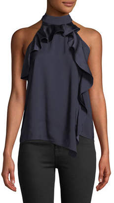 Parker Blake High-Neck Draped Combo Ruffle Halter Top