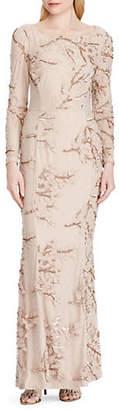 Lauren Ralph Lauren Embroidered Sequined Tulle Gown