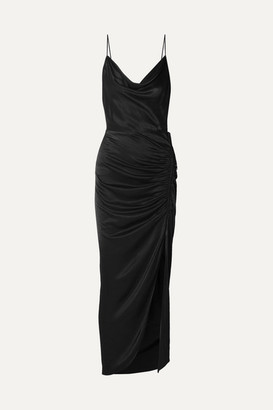 Veronica Beard Natasha Ruched Satin Maxi Dress - Black