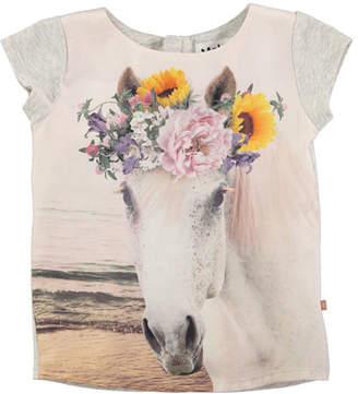 Molo Rubertha Cap-Sleeve Horse T-Shirt, Size 4-12