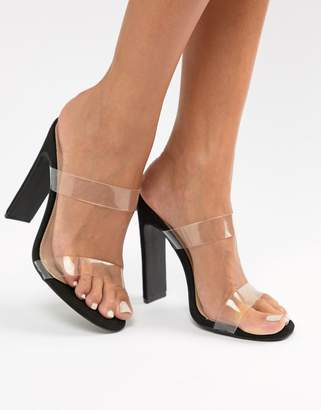 PrettyLittleThing 2 strap clear heeled sandal in black