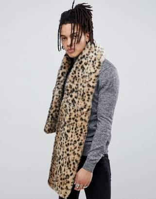 Asos Design DESIGN faux fur scarf in leopard