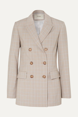Maje Cruise Double-breasted Checked Woven Blazer - Stone