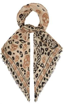 Alexander McQueen Leopard And Skull Print Scarf - Womens - Camel