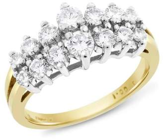 14k Yellow Gold 1.00 Ct. Natural Diamond Graduated Step Cocktail Fancy Ring Size 7